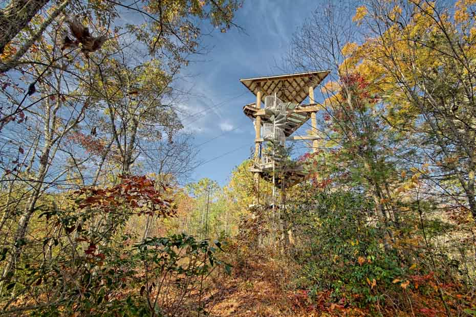 Adventure Spiral Staircase easy zip line access