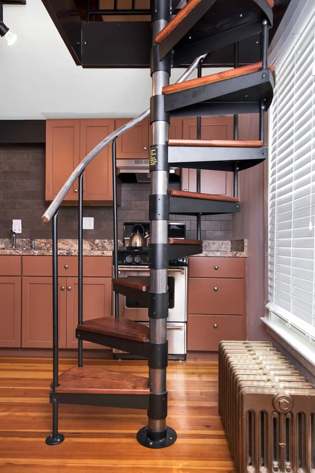 Classic steel with wood Spiral Staircase transitional style