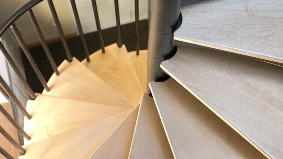 Classic steel with wood Spiral Stair