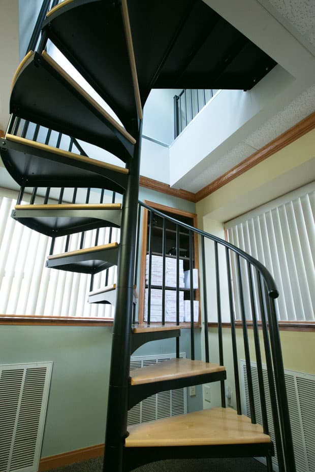 Classic steel with wood Spiral Staircase commercial office