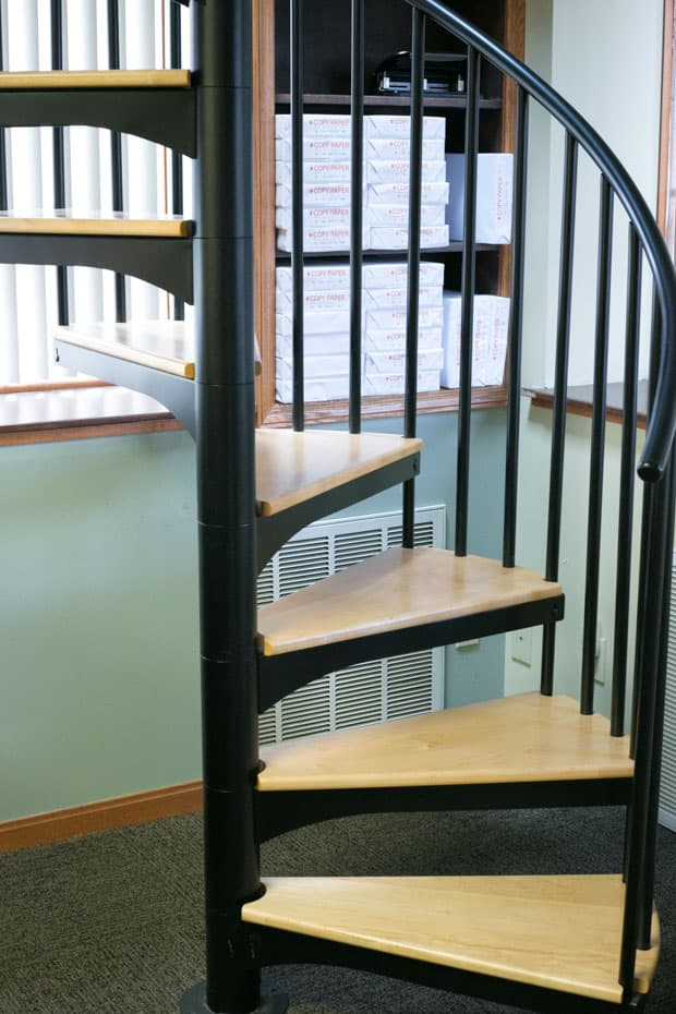 Classic steel with wood Spiral Staircase upclose profile