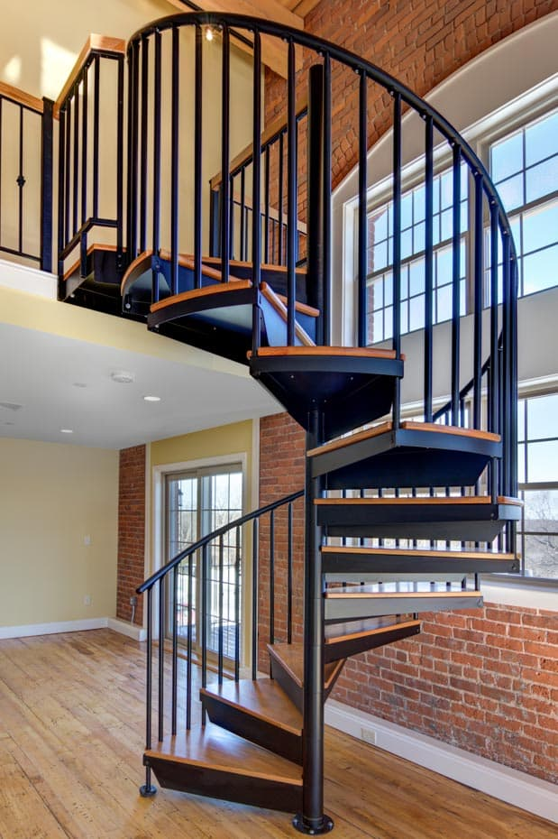 Classic steel with wood Spiral Staircase nyc loft bedroom