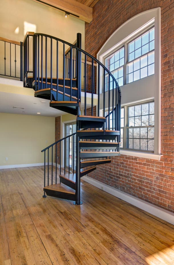 Classic steel with wood Spiral Staircase nyc loft