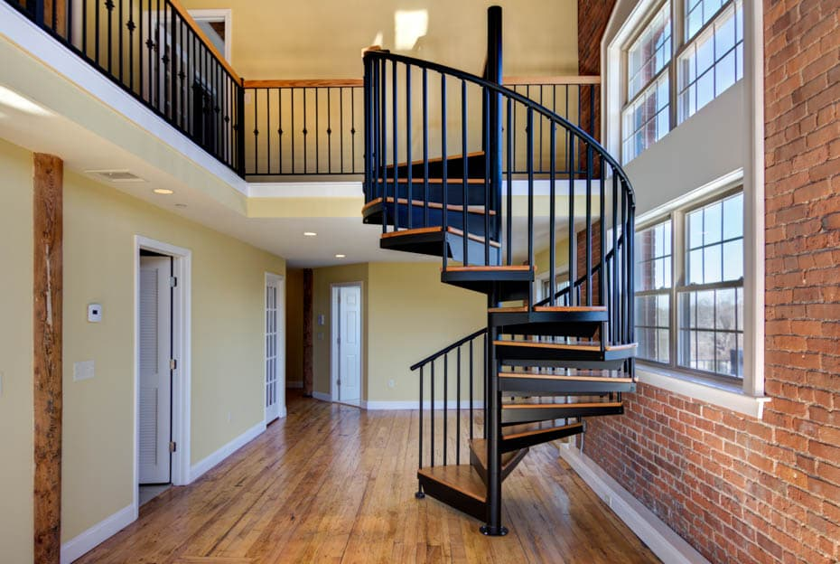 Classic steel with wood Spiral Staircase urban design