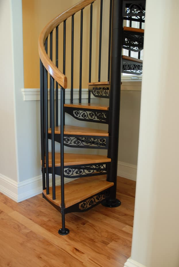Classic steel with wood Spiral Staircase in victorian home