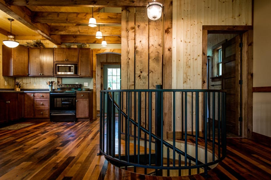 Classic steel with wood Spiral Staircase rustic home