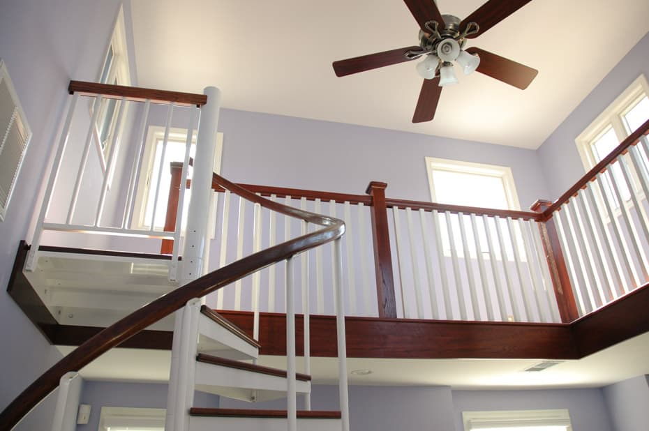 Classic steel with wood Spiral Staircase with loft railing