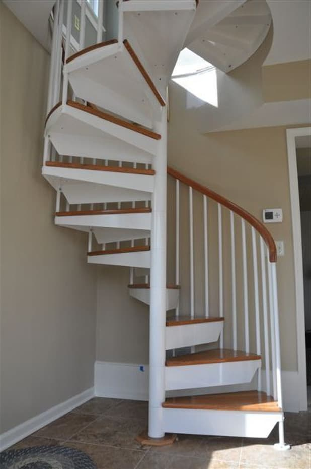 Classic steel with wood Spiral Staircase white primer finish