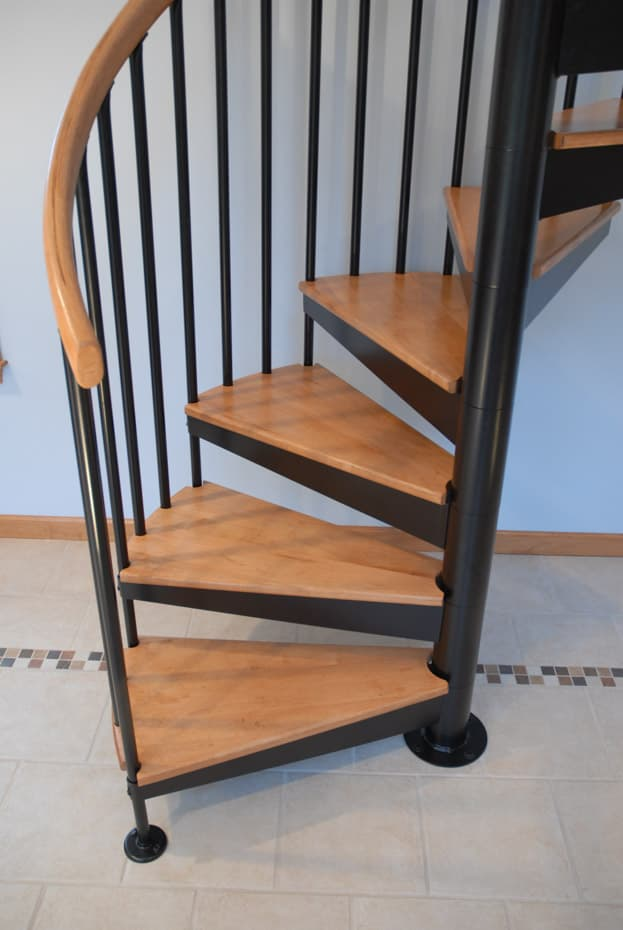 Classic steel with wood Spiral Staircase stained treads (1)