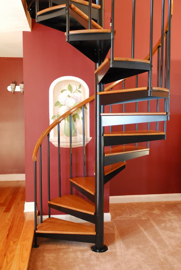 Classic steel with wood Spiral Staircase open risers