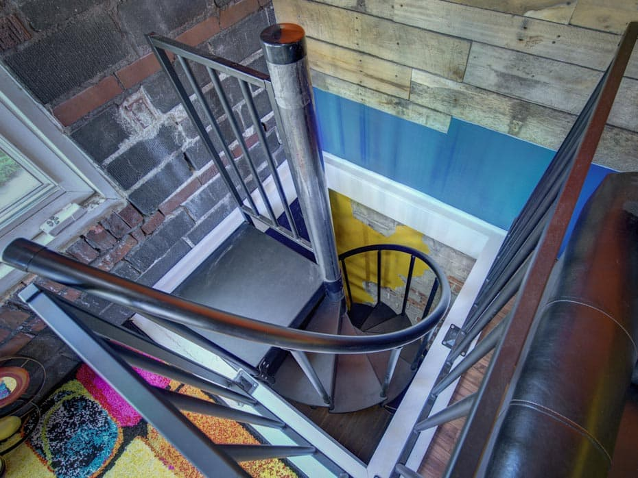 Classic Steel Deck Spiral Staircase vinyl handrail