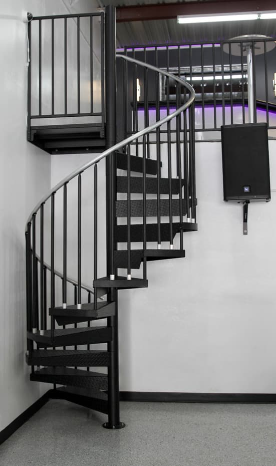 Classic Steel Deck Spiral Staircase code compliant staircase