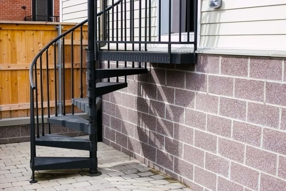 Classic Steel Deck Spiral Staircase small space porch