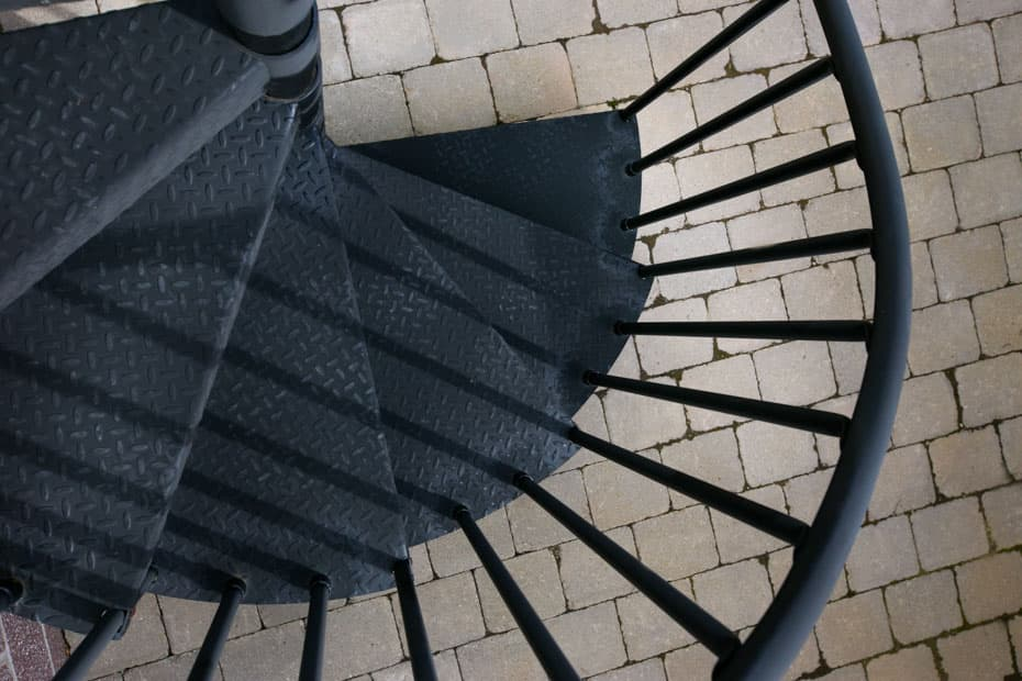 Classic Steel Deck Spiral Staircase diamond plate steps