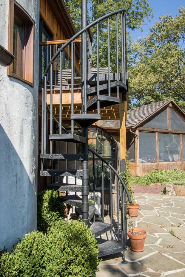 Classic Steel Deck Spiral Staircase rustic deck stair