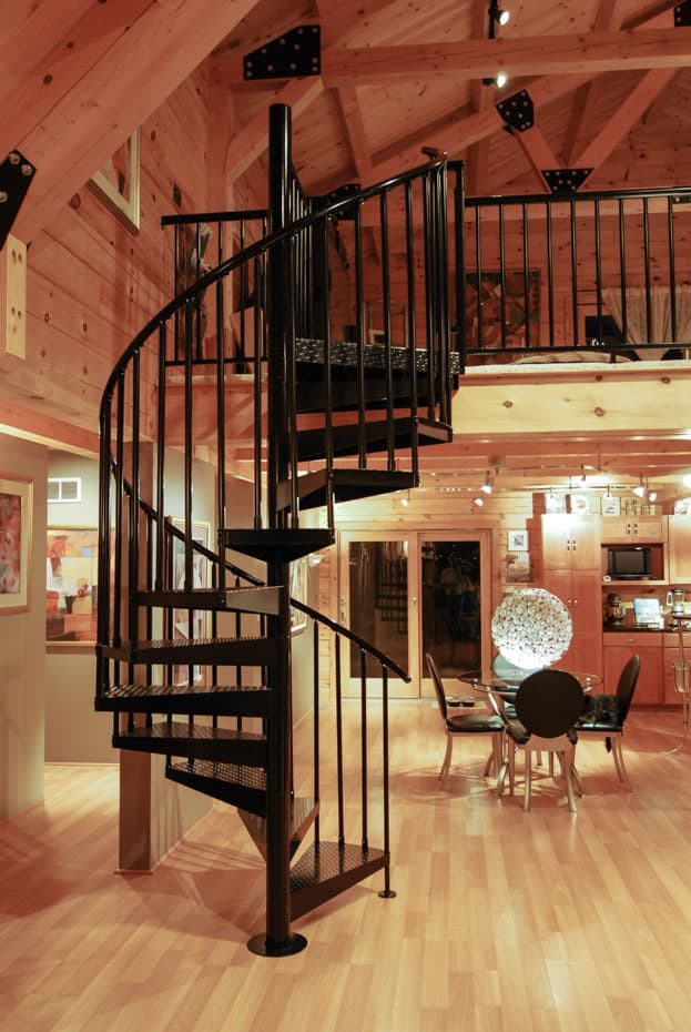 Classic Steel Deck Spiral Staircase cabin loft access