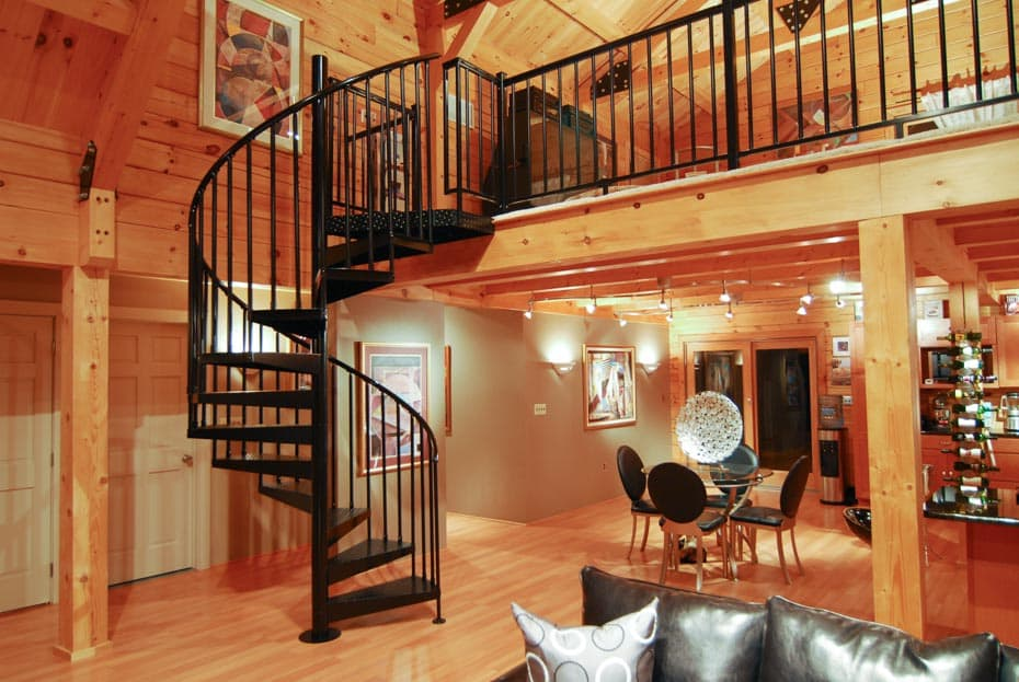 Classic Steel Deck Spiral Staircase living room loft access