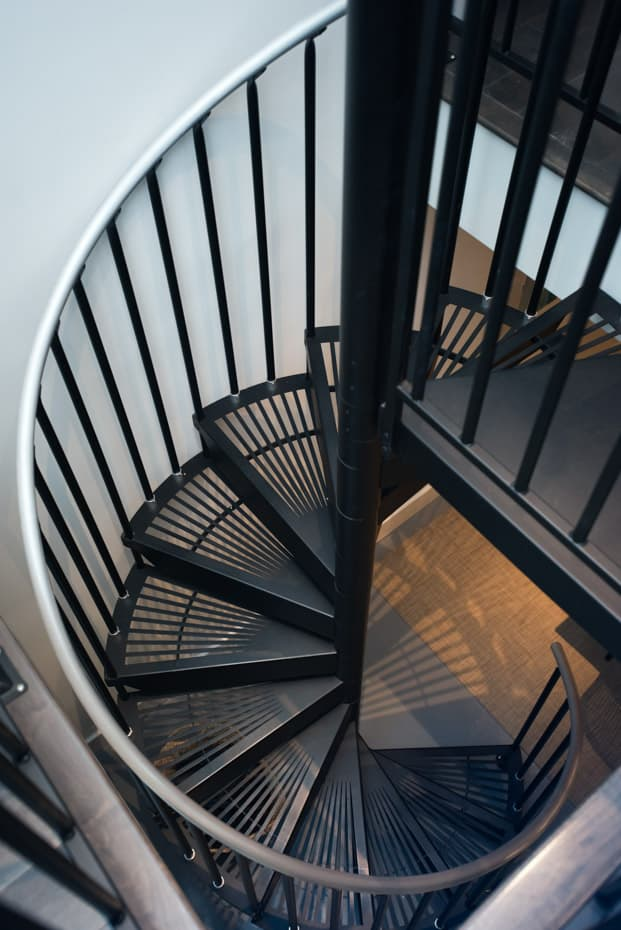 Classic Steel Deck Spiral Staircase continuous sleeves