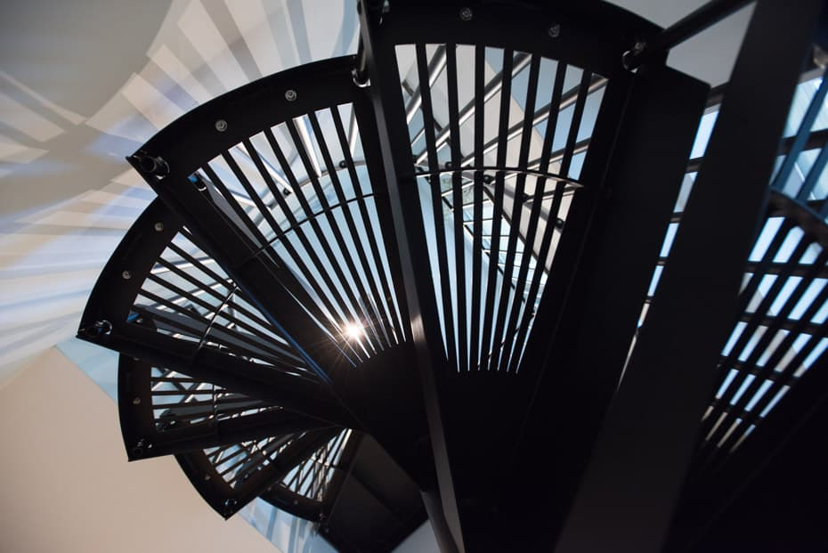 Classic Steel Deck Spiral Staircase fan cut treads