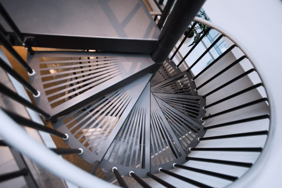 Classic Steel Deck Spiral Staircase open grate treads
