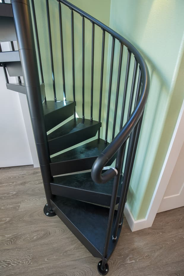 Classic Steel Deck Spiral Staircase interior aluminum handrail