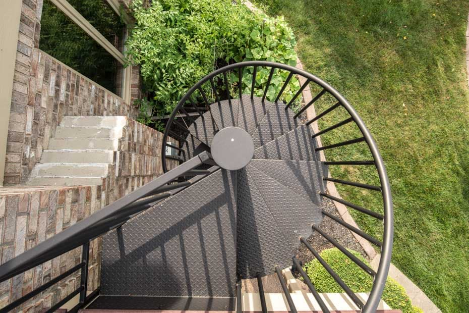 Classic Steel Deck Spiral Staircase backyard access