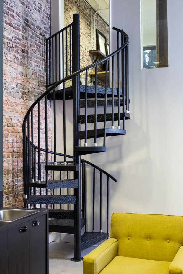 Commercial Spiral Staircase Black Stair with Diamond Treads