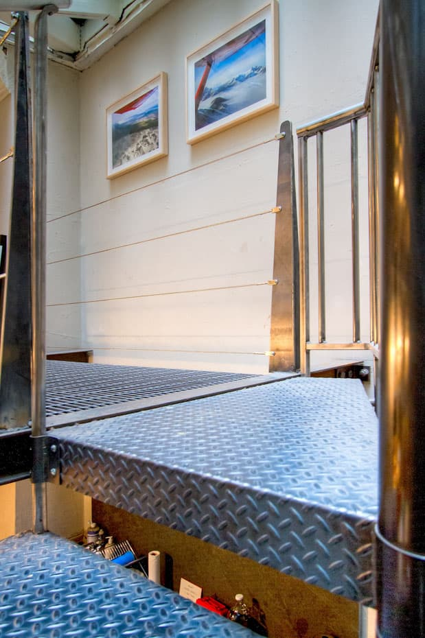 Commercial Spiral Staircase diamond plate platform