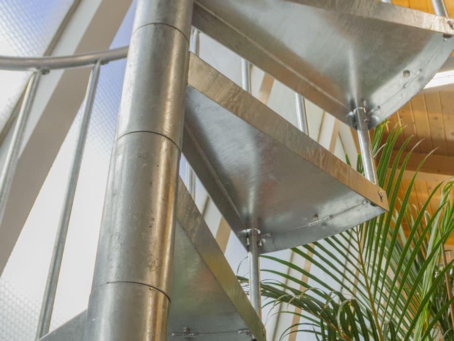 Galvanized Spiral Staircase center column
