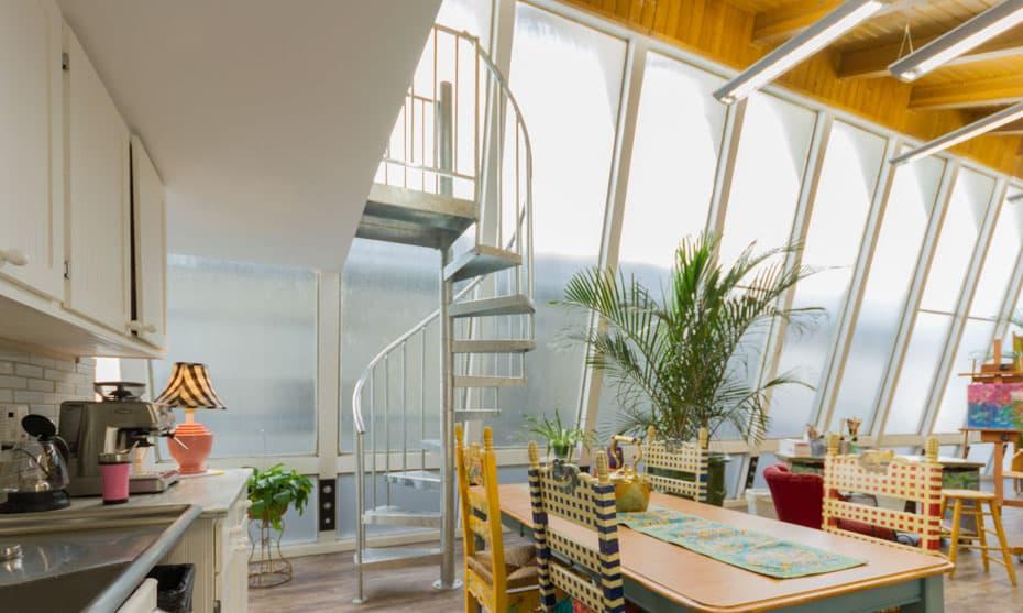 Galvanized Spiral Staircase in small condo