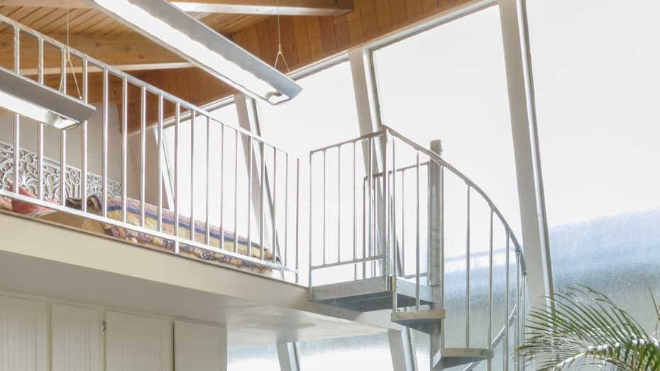 Galvanized Spiral Staircase loft bedroom