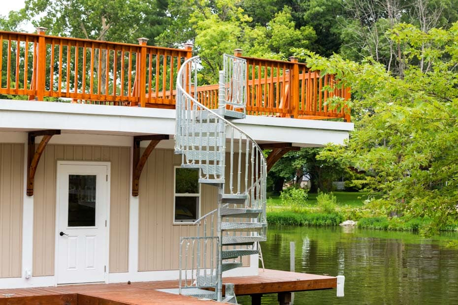 Galvanized Spiral Staircase on a private boat dock