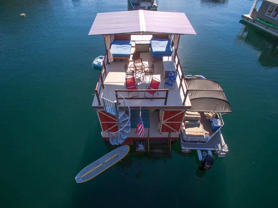 Galvanized Spiral Staircase houseboat view from above