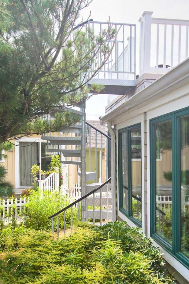 Galvanized Spiral Staircase in a home garden