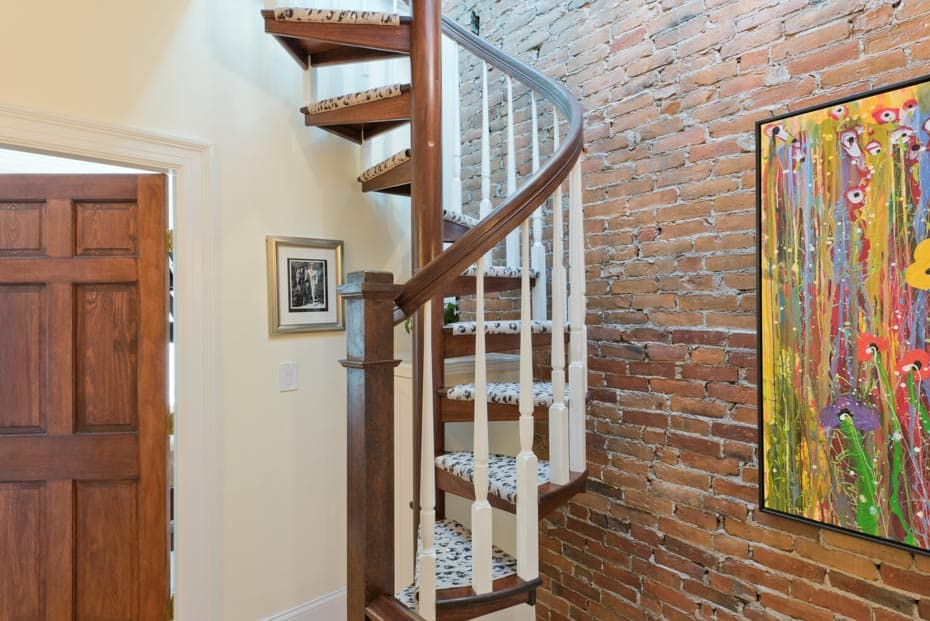 All wood Spiral Staircase attic access