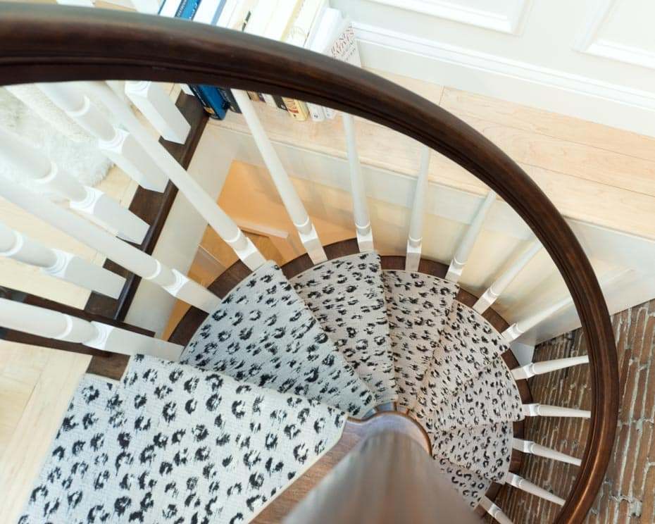 All wood Spiral Staircase carpeted treads rotation