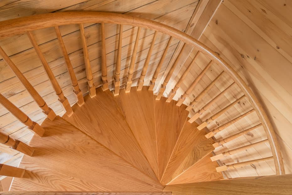 All wood Spiral Staircase downward rotation