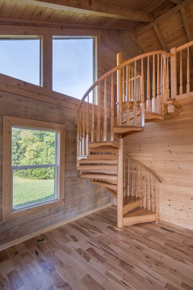 All wood Spiral Staircase log cabin