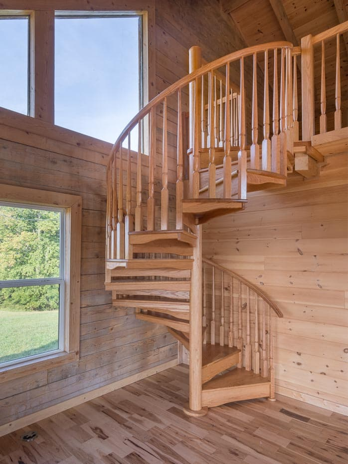 All wood Spiral Staircase pine wood log cabin