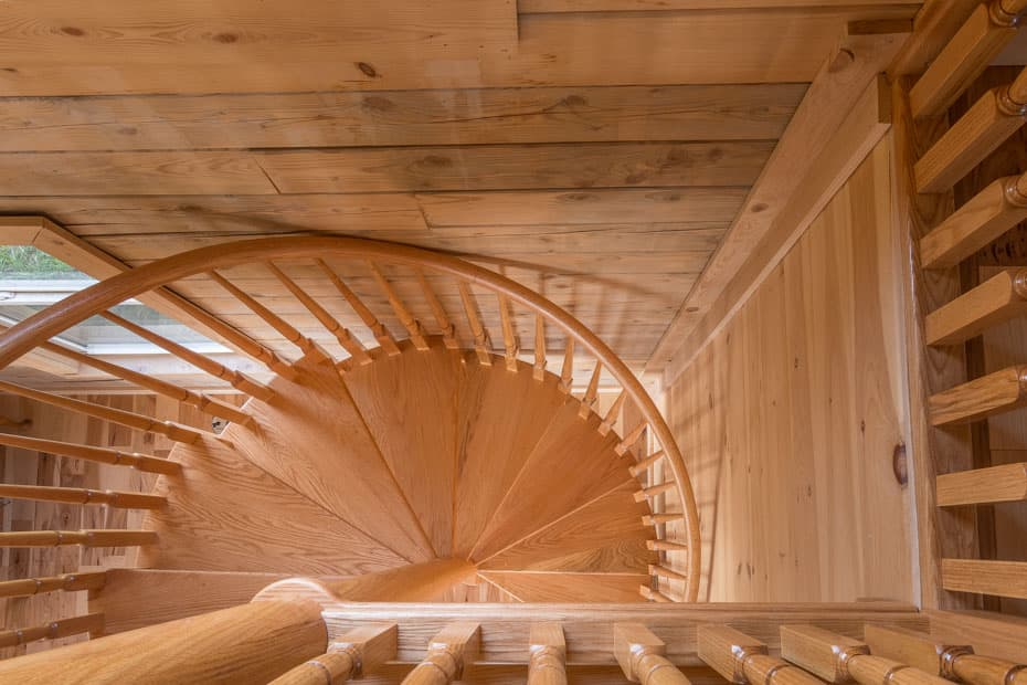 All wood Spiral Staircase quarter turn