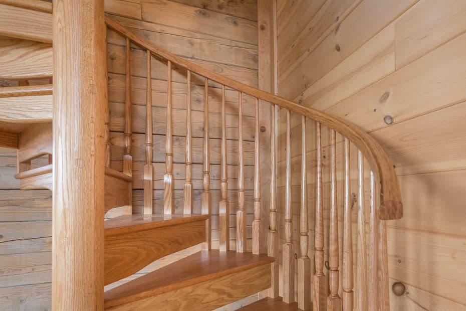 All wood Spiral Staircase solid center column