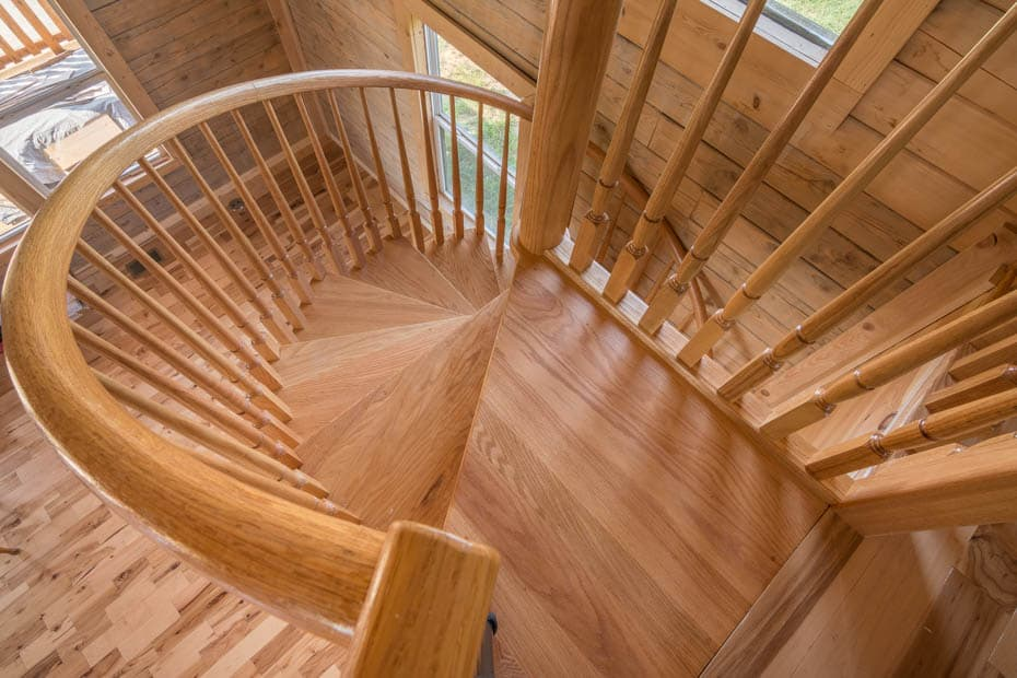 All wood Spiral Staircase wood platform