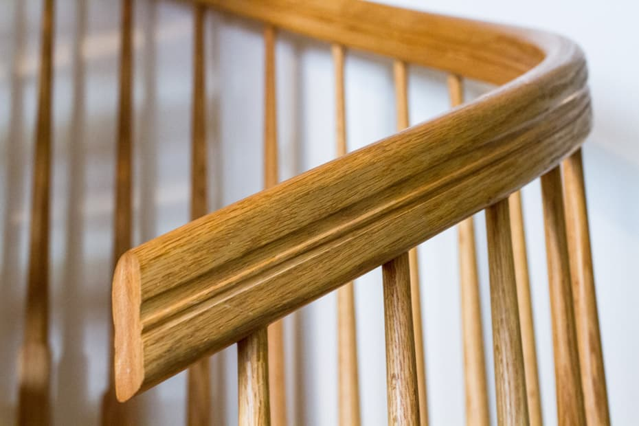 All wood Spiral Staircase curved hanrdrail