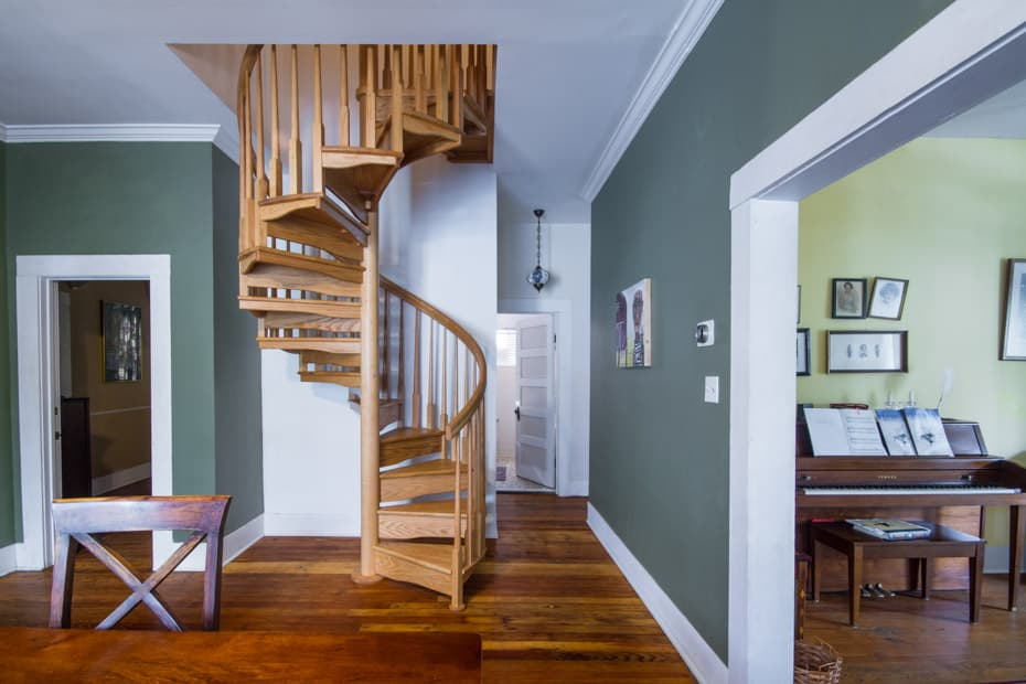 All wood Spiral Staircase farmouse