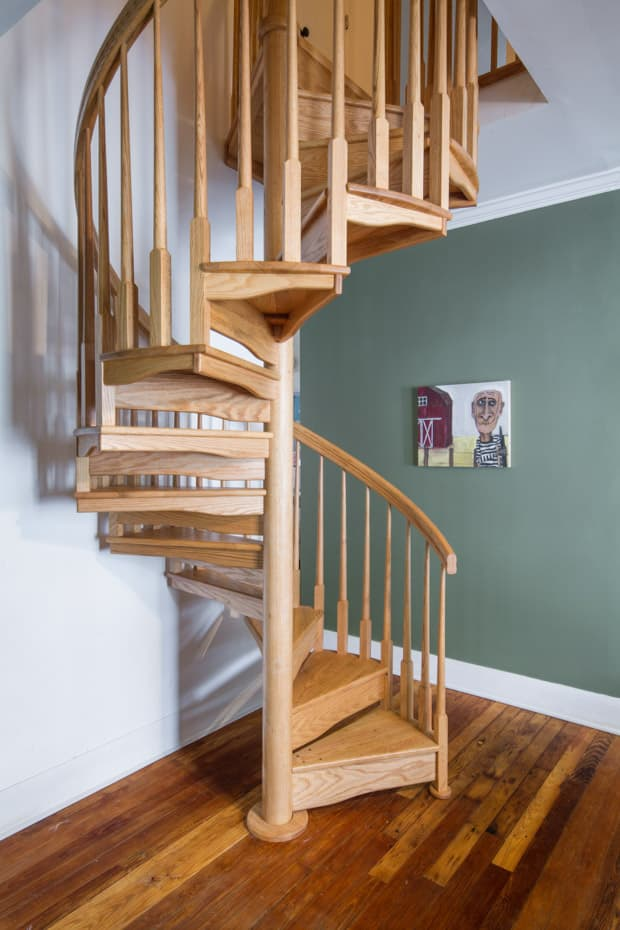 All wood Spiral Staircase home indoors