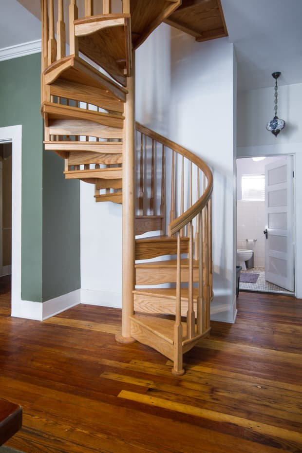 All wood Spiral Staircase traditional rustic home