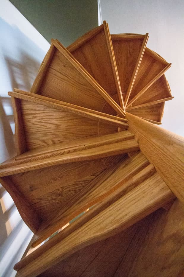 All wood Spiral Staircase tread strength