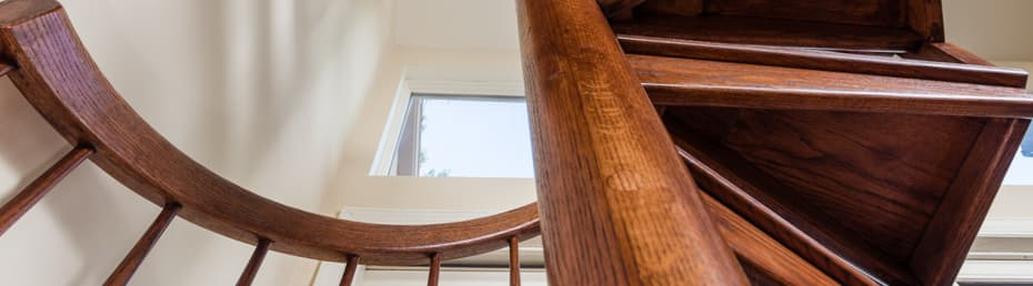 All wood Spiral Staircase center column view