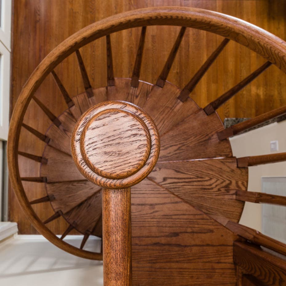 All wood Spiral Staircase column cap stained