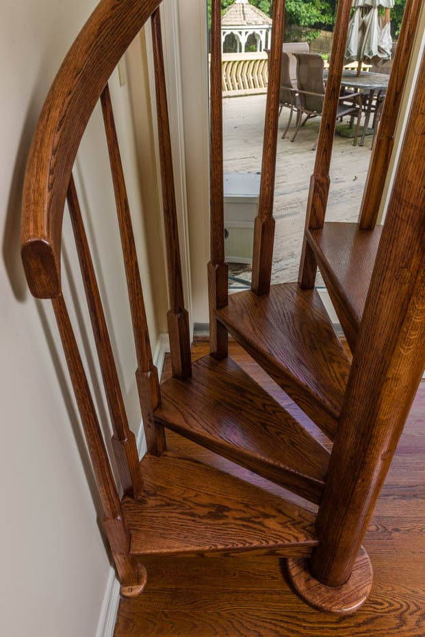 All wood Spiral Staircase finished handrail